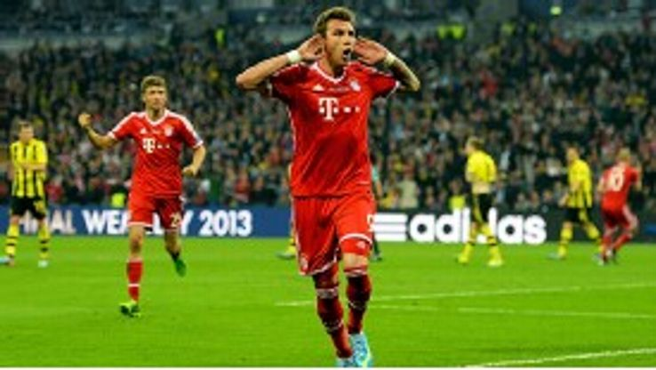 Mario Mandzukic celebrate after his goal for Bayern Munich broke the deadlock in the Champions League final