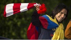 Radamel Falcao celebrates his team's Copa del Rey success