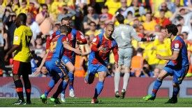 Kevin Phillips wheels away after scoring for Crystal Palace against Watford at Wembley