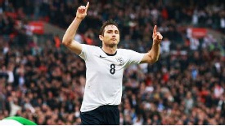 Frank Lampard celebrates after levelling for England