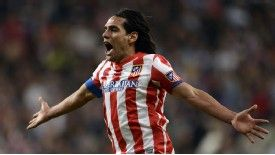 Radamel Falcao celebrates after winning the Copa del Rey