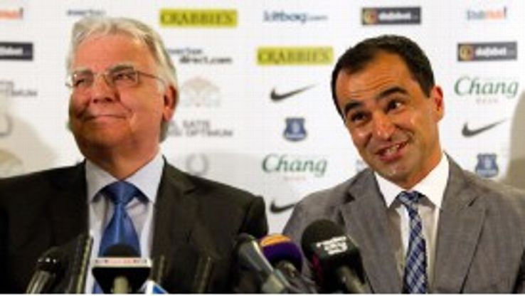 Bill Kenwright (L) is not concerned by the club's lack of activity in the transfer market.