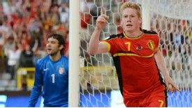 Kevin De Bruyne opened the scoring for Belgium against Serbia