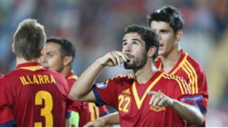 Isco celebrates his penalty for Spain in the Under-21 European Championship final.