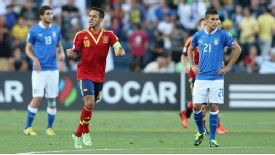 Thiago Alcantara celebrates a goal for Spain against Italy
