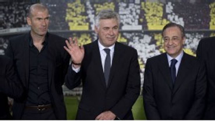 Gareth Bale can learn plenty from the two men on the left, Zinedine Zidane and Carlo Ancelotti.