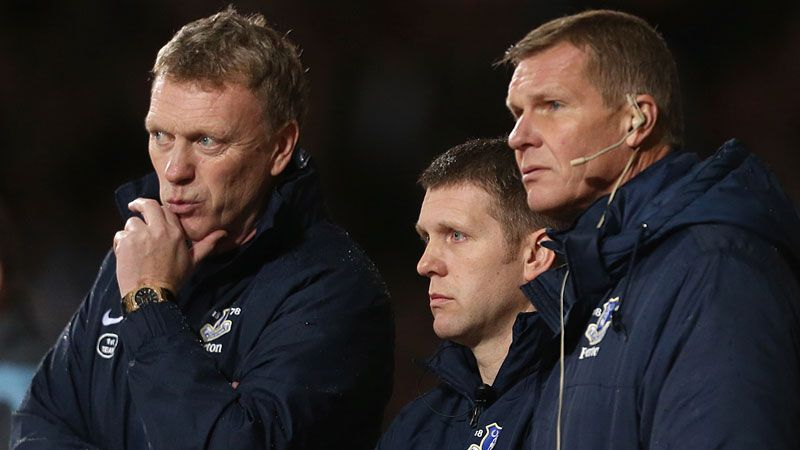 Moyes has brought Round (c) and Woods (r) with him to United