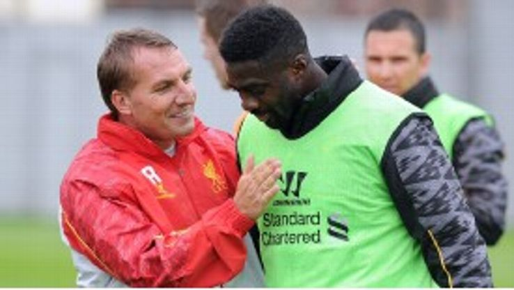 Kolo Toure in training with his new manager Brendan Rodgers.