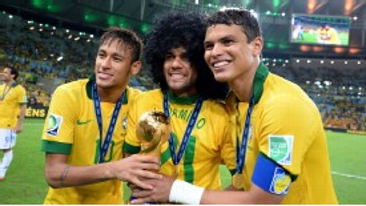 Neymar, Dani Alves and Thiago Silva celebrate winning the Confederations Cup