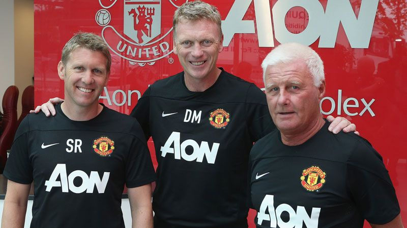 David Moyes alongside Steve Round and Jimmy Lumsden