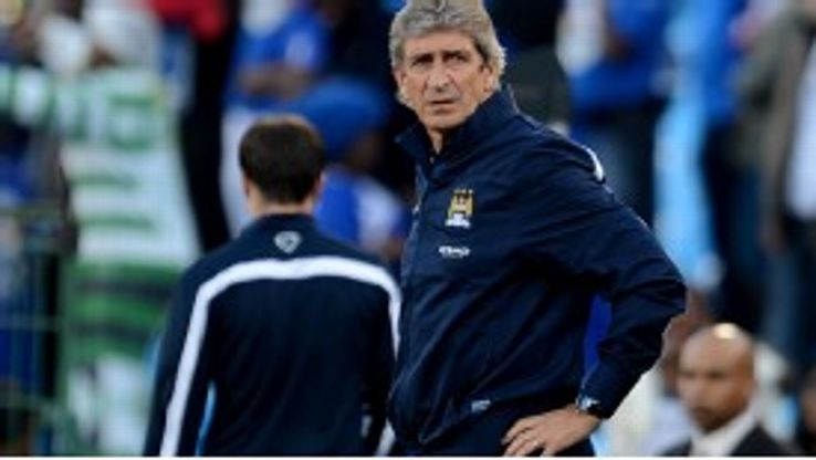 Manuel Pellegrini takes charge of his first game as Manchester City manager, a 2-0 defeat to SuperSport United