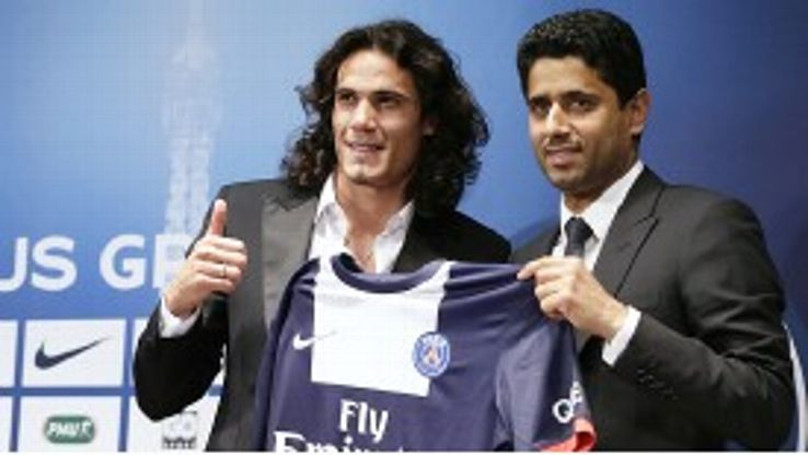Edinson Cavani is presented to the media by PSG chairman Nasser Al-Khelaifi
