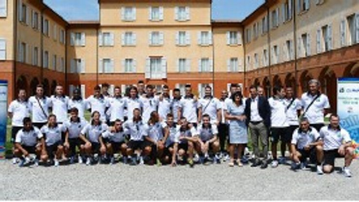 The Sassuolo squad lines up for the 2013-14 Serie A team photo