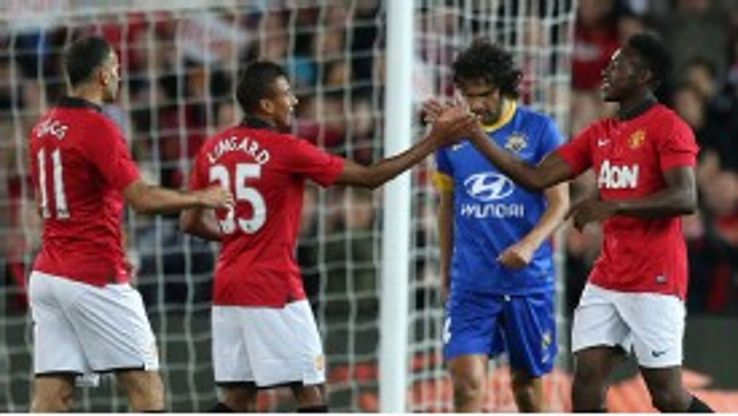 Jesse Lingard and Danny Welbeck netted two goals apiece in the victory.