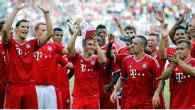 Bayern Munich celebrate winning the Telekom Cup.