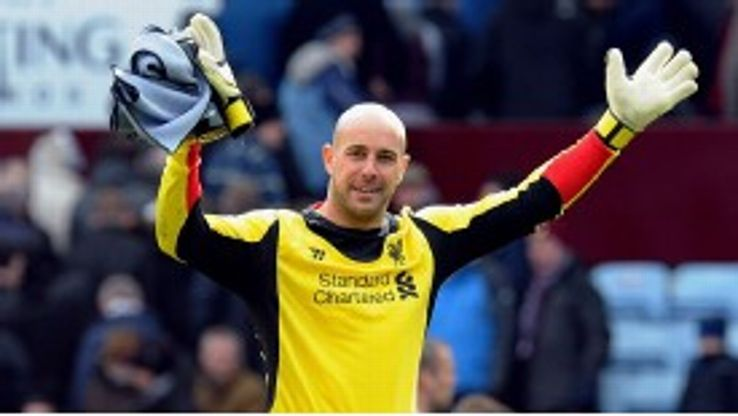 Reina claps the Liverpool supporters.