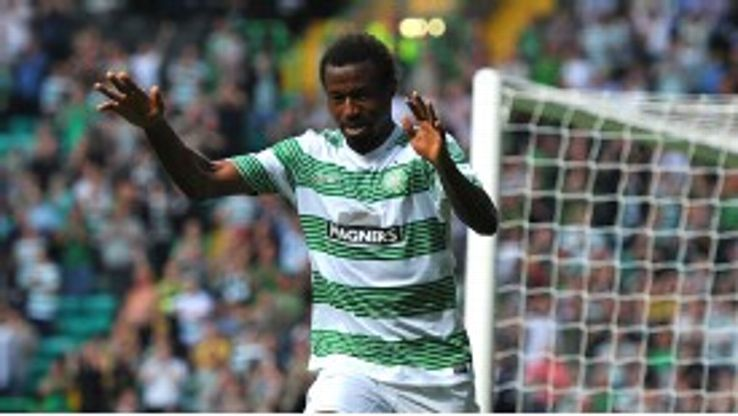 Celtic's Efe Ambrose celebrates after scoring Cliftonville in the Champions League.
