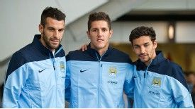 Manchester City's new signings Alvaro Negredo, Stevan Jovetic and Jesus Navas.