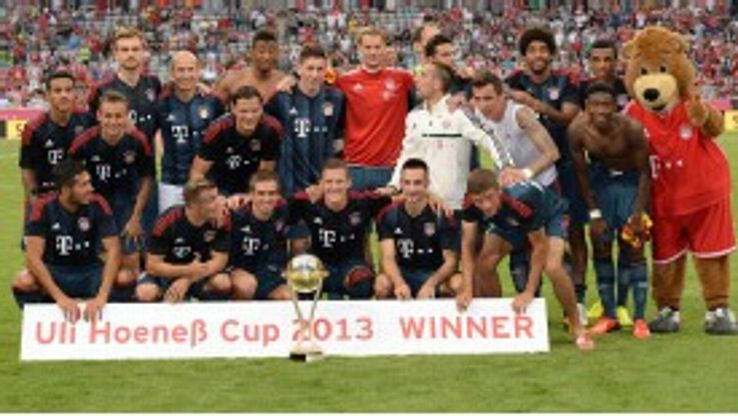 Bayern Munich celebrate their pre-season win against Barcelona