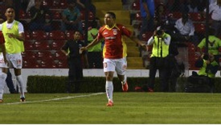 Jefferson Montero celebrates a goal for Morelia
