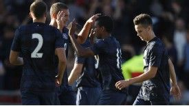 Nani celebrates scoring against Crewe on Monday night.