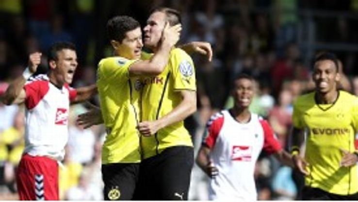 Dortmund duo Kevin Grosskreutz and Robert Lewandowski celebrate during the win over Wilhelmshaven.