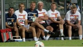 Ryan Giggs and Phil Neville are part of David Moyes' coaching team this season.