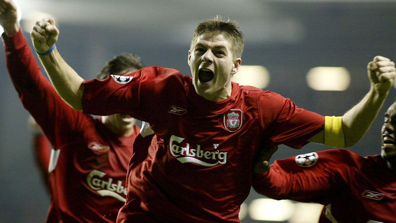 Steven Gerrard celebrates his legendary strike against Olympiakos in December 2004.