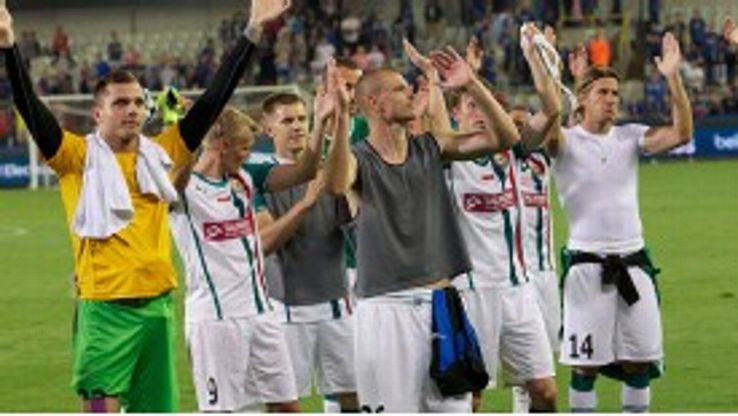 Slask Wroclaw players celebrate their Europa League victory over Club Brugge.