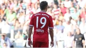 Mario Gotze in action for Bayern on Sunday having swapped Dortmund for Munich