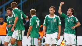 Martin Paterson punches the air after scoring what proved to be Northern Ireland's shock winner against Russia.