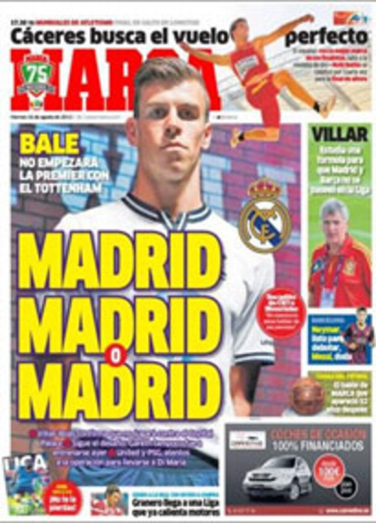 <I>Marca</i> is convinced Gareth Bale is bound for the Bernabeu.