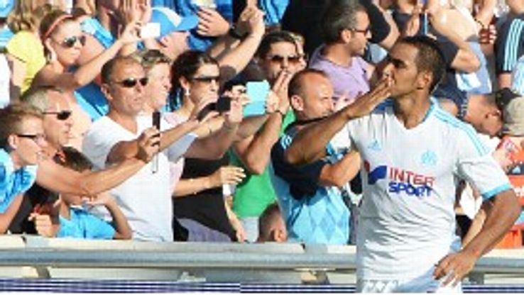 Dimitri Payet celebrates after netting for Marseille