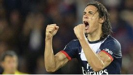 Edinson Cavani celebrates his late leveller for PSG against Ajaccio
