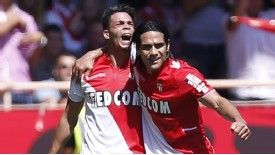 Emmanuel Riviere and Radamel Falcao celebrate during Monaco's win against Montpellier.