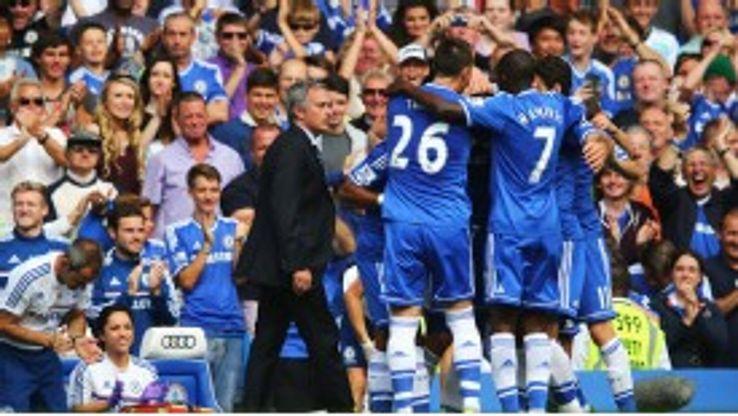 Chelsea celebrate a goal against Hull.