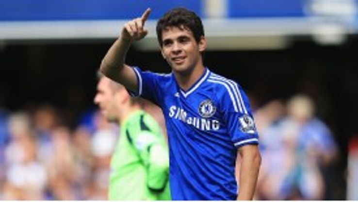 Oscar opened the scoring for Chelsea against Hull.