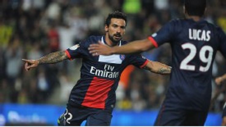 Ezequiel Lavezzi celebrates after scoring the winner for PSG.