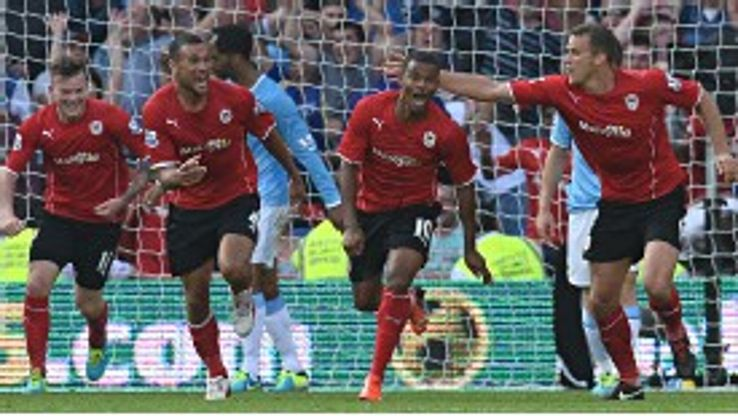 Cardiff's Fraizer Campbell celebrates one of his two goals against Man City.