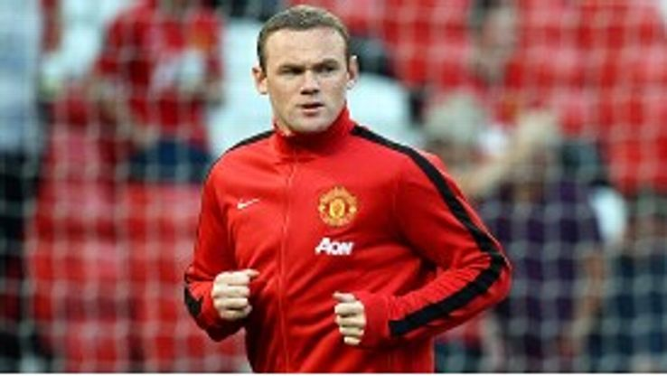Wayne Rooney warms up ahead of the game against Chelsea