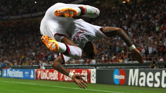 Kevin-Prince Boateng celebrates after completing the scoring in AC Milan's 3-0 win over PSV.