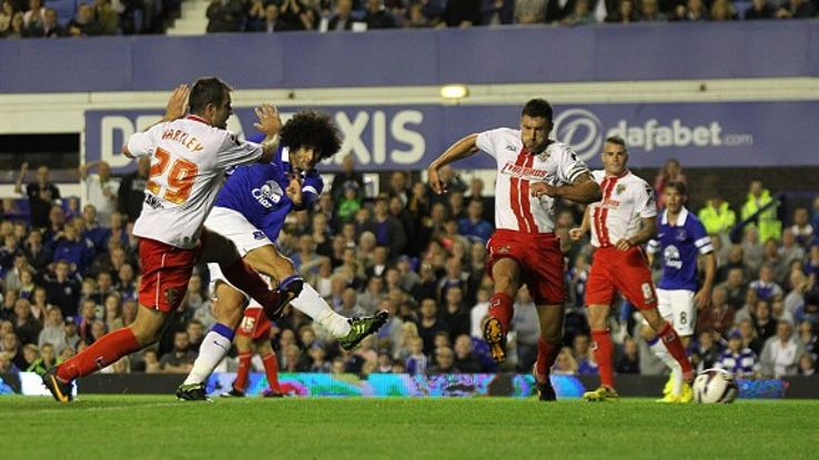 Marouane Fellaini scores Everton's extra-time winner against Stevenage.