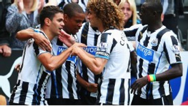 Hatem Ben Arfa is congratulated after scoring for Newcastle.