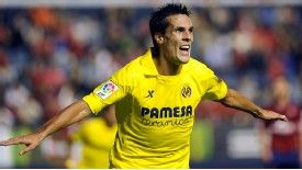 Jeremy Perbet celebrates after opening the scoring for Villarreal.