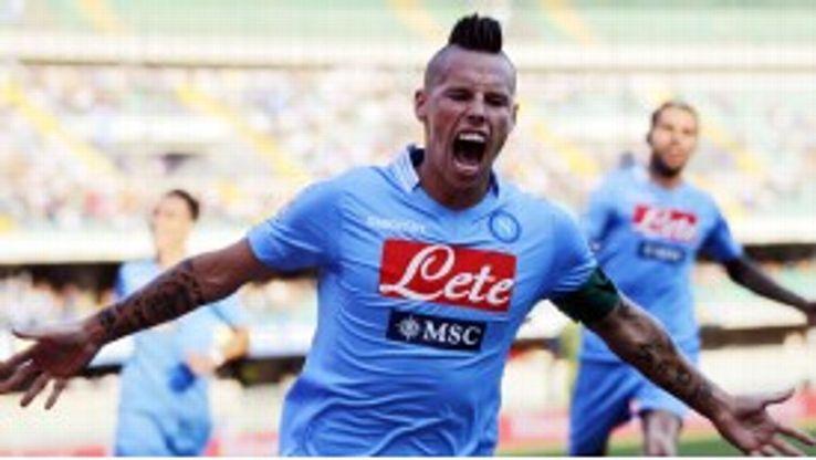Marek Hamsik helped himself to a brace a Napoli beat Chievo Verona.