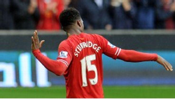 Daniel Sturridge celebrates a goal for Liverpool.