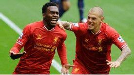 Daniel Sturridge celebrates his goal for Liverpool against Man United.