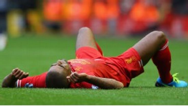 Glen Johnson hobbled off injured during Liverpool's victory over Manchester United.