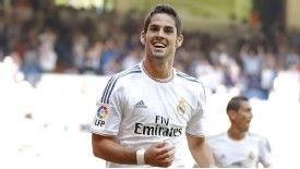 Isco celebrates after opening the scoring for Real Madrid against Athletic Bilbao.