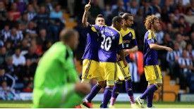 Pablo Hernandez celebrates his goal for Swansea against West Brom.